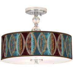 "Stacy Garcia Pearl Leaf Peacock 16"" Wide Ceiling Light"