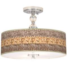 "Woven Fundamentals Giclee 16"" Wide Semi-Flush Ceiling Light"