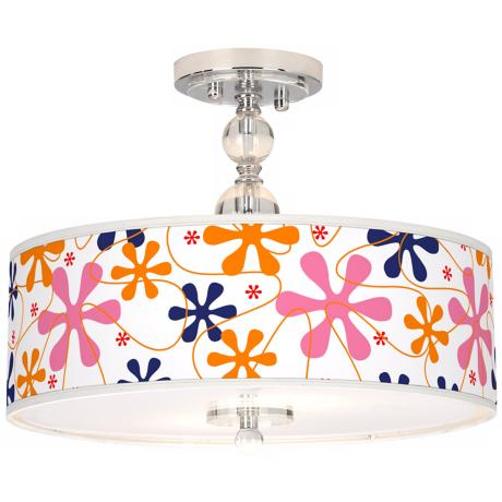 "Retro Pink Giclee 16"" Wide Semi-Flush Ceiling Light"