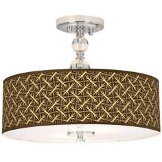 "Tan Wailia Giclee 16"" Wide Semi-Flush Ceiling Light"