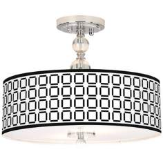 "Open Grid Giclee 16"" Wide Semi-Flush Ceiling Light"