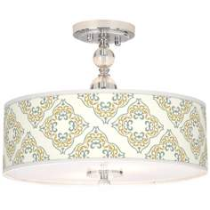 "Aster Ivory Giclee 16"" Wide Semi-Flush Ceiling Light"