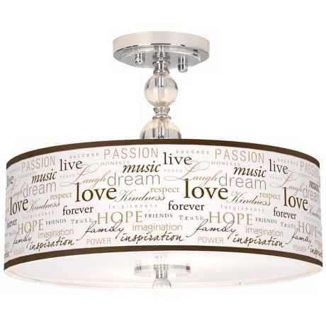 "Positivity Giclee 16"" Wide Semi-Flush Ceiling Light"