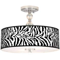"Safari Zebra 16"" Wide Semi-Flush Ceiling Light"