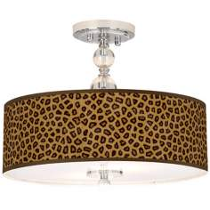 "Safari Cheetah 16"" Wide Semi-Flush Ceiling Light"