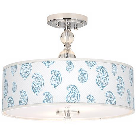 "Paisley Snow Giclee 16"" Wide Semi-Flush Ceiling Light"