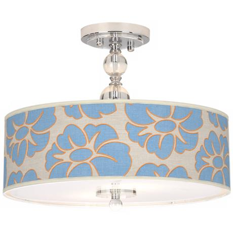 "Floral Blue Silhouette Giclee 16"" Wide Ceiling Light"
