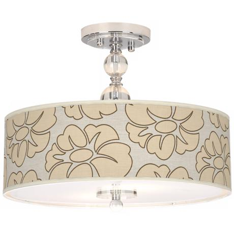 "Floral Silhouette Giclee 16"" Wide Semi-Flush Ceiling Light"