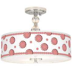 "Peppermint Pinwheels Giclee 16"" Semi-Flush Ceiling Light"