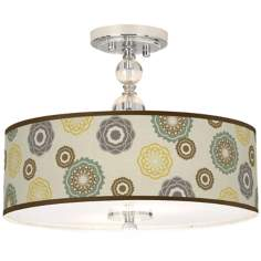 "Ornaments Linen Giclee 16"" Wide Semi-Flush Ceiling Light"
