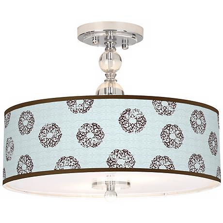 "Weathered Medallion Giclee 16"" Wide Semi-Flush Ceiling Light"
