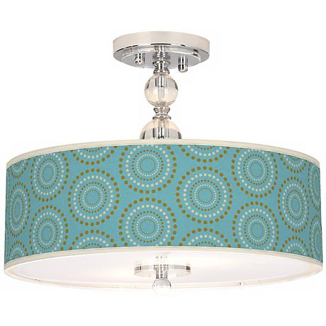 "Blue Calliope Linen Giclee 16"" Wide Semi-Flush Ceiling Light"