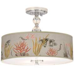 "La Mer Coral Giclee 16"" Wide Semi-Flush Ceiling Light"