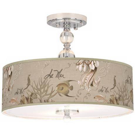 "La Mer Jellyfish Giclee 16"" Wide Semi-Flush Ceiling Light"