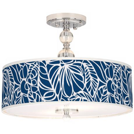 "Jungle Rain Giclee 16"" Wide Semi-Flush Ceiling Light"