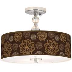 "Chocolate Blossom Linen 16"" Wide Semi-Flush Ceiling Light"
