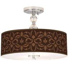 "Mocha Flourish Linen 16"" Wide Semi-Flush Ceiling Light"