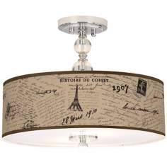 "Letters to Paris Linen 16"" Wide Semi-Flush Ceiling Light"