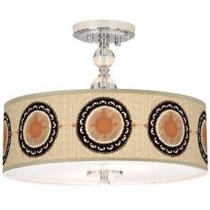 "Travelers Compass Giclee 16"" Wide Semi-Flush Ceiling Light"