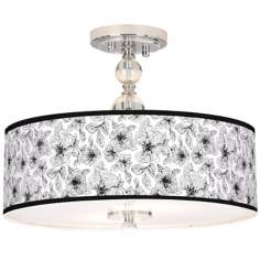 "Stacy Garcia Linear Floral 16"" Wide Semi-Flush Ceiling Light"