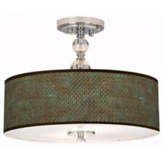 "Interweave Patina Giclee 16"" Wide Semi-Flush Ceiling Light"