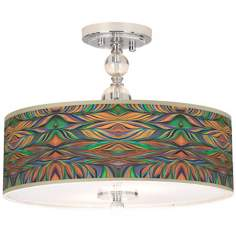 "Exotic Peacock Giclee 16"" Wide Semi-Flush Ceiling Light"