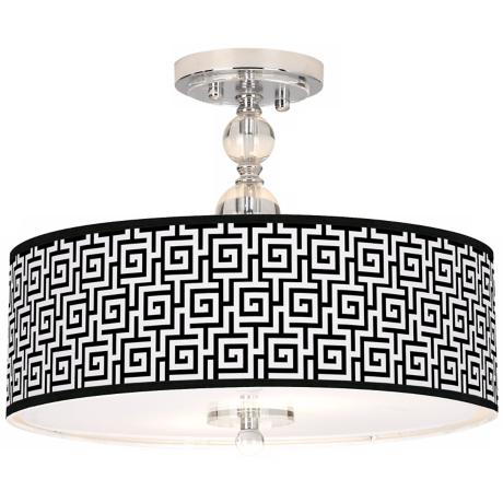 "Greek Key Giclee 16"" Wide Semi-Flush Ceiling Light"