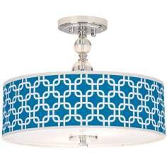"Blue Lattice Giclee 16"" Wide Semi-Flush Ceiling Light"