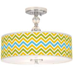 "Citrus Zig Zag Giclee 16"" Wide Semi-Flush Ceiling Light"