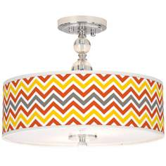 "Flame Zig Zag Giclee 16"" Wide Semi-Flush Ceiling Light"