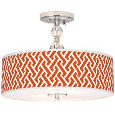 "Red Brick Weave Giclee 16"" Wide Semi-Flush Ceiling Light"