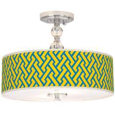 "Yellow Brick Weave Giclee 16"" Wide Semi-Flush Ceiling Light"