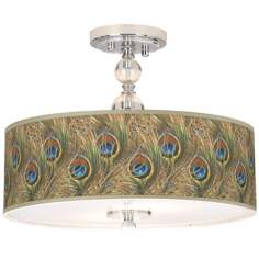 "Iridescent Feather Giclee 16"" Wide Semi-Flush Ceiling Light"