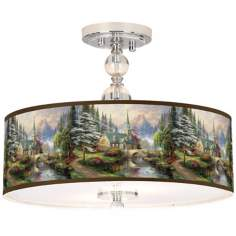 "Thomas Kinkade Dogwood Chapel 16"" Ceiling Light"