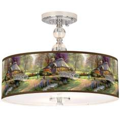 "Thomas Kinkade Friendship Cottage 16"" Ceiling Light"