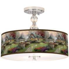 "Thomas Kinkade Make a Wish Cottage 16"" Ceiling Light"