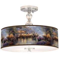 "Thomas Kinkade Mountain Memories 16"" Ceiling Light"