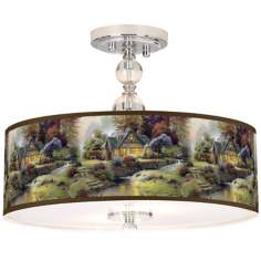 "Thomas Kinkade Stillwater Cottage 16"" Ceiling Light"