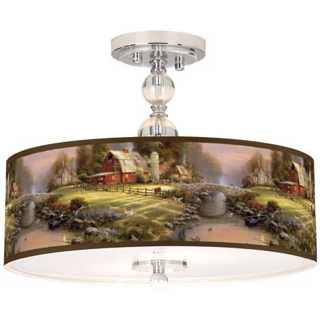 "Thomas Kinkade Sunset at Riverbend Farm 16"" Ceiling Light"