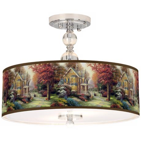"Thomas Kinkade Victorian Autumn 16"" Ceiling Light"
