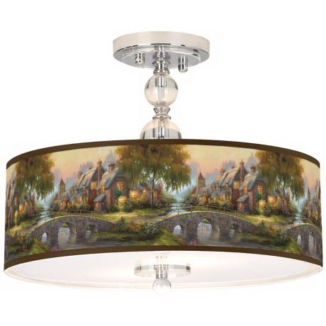 "Thomas Kinkade Cobblestone Bridge 16"" Ceiling Light"
