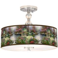 "Thomas Kinkade The Garden of Prayer 16"" Ceiling Light"
