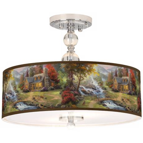 "Thomas Kinkade Mountain Paradise 16"" Ceiling Light"