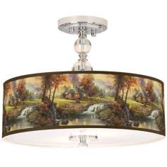 "Thomas Kinkade Mountain Retreat 16"" Ceiling Light"