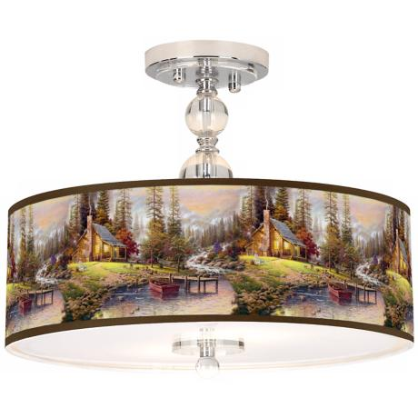 "Thomas Kinkade A Peaceful Retreat 16"" Ceiling Light"