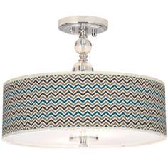 "Zig Zag Giclee 16"" Wide Semi-Flush Ceiling Light"