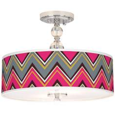 "Stacy Garcia Chevron Pride Pink 16"" Wide Ceiling Light"