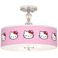 "Hello Kitty Classic 16"" Wide Chrome Ceiling Light"