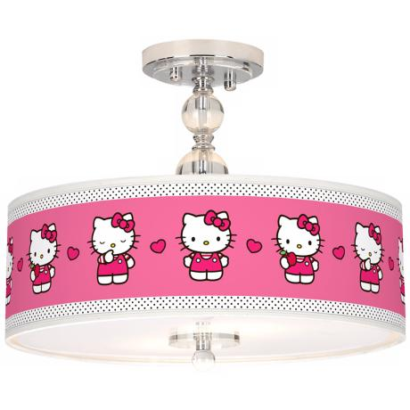 "Hello Kitty Pink and Polka Dots 16"" Wide Ceiling Light"