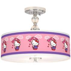 "Hello Kitty Rain or Shine 16"" Wide Chrome Ceiling Light"